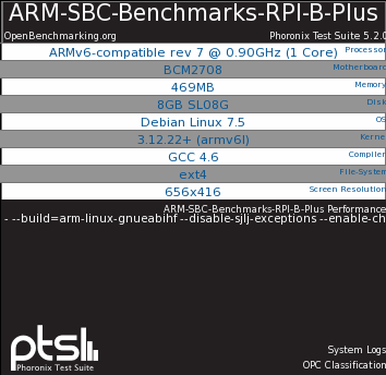 Raspberry Pi B+ ARM Debian Benchmarks